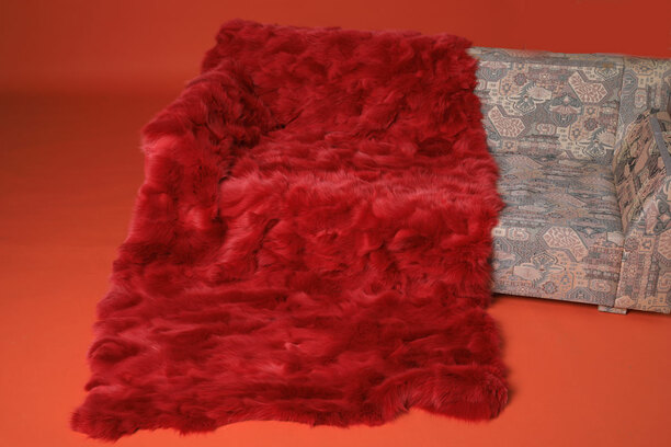 Bright Red Fox Fur Blanket Throw