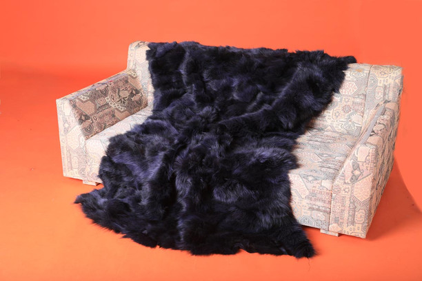 Deep Purple Fox Fur Blanket Throw