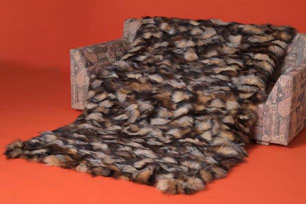 sectional crystal fox fur throw