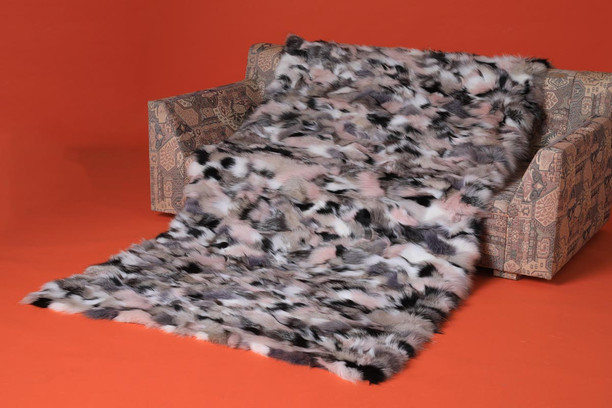 tricolor fox fur throw blanket