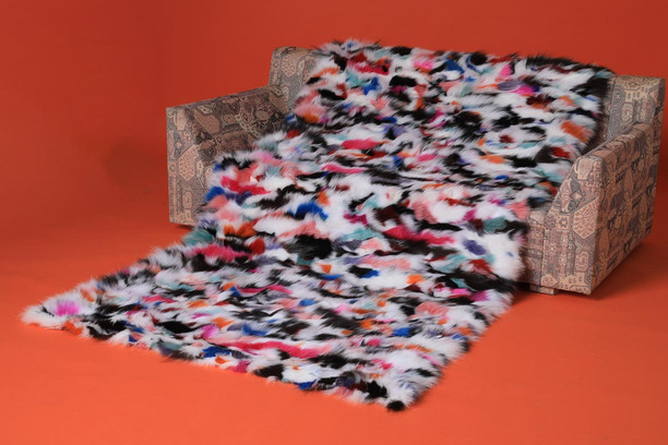 ethnic multicolor fox fur blanket