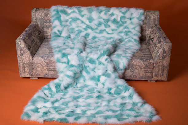 blue white sectional fox fur throw blanket