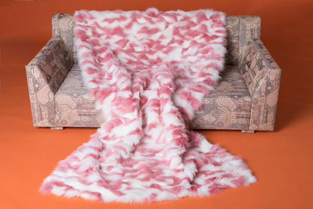 pink white sectional fox fur throw blanket