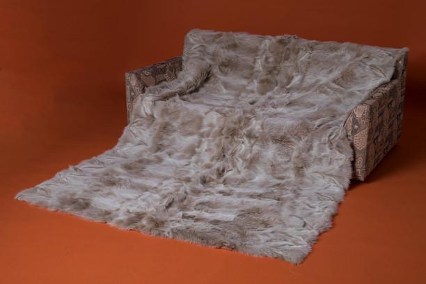 snow top fox fur blanket made of halfskins
