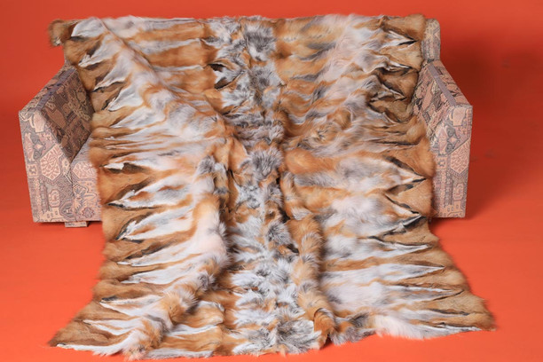 halfskins red fox fur blanket throw