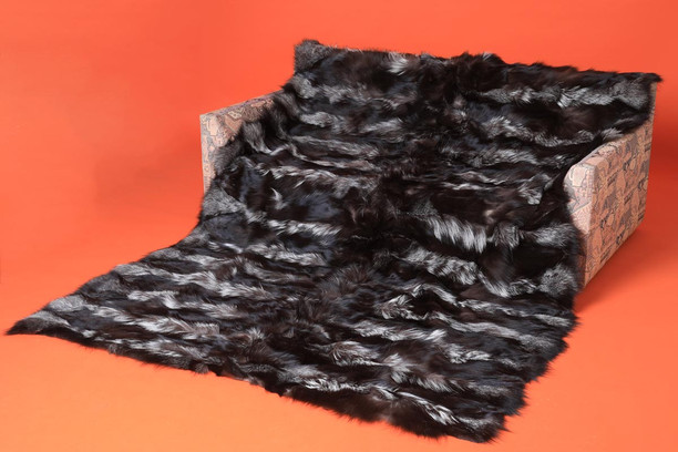 silver fox fur throw blanket made of halfskins