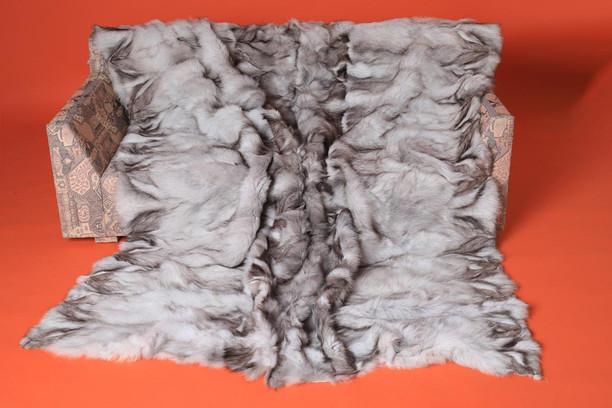 blue fox fur throw blanket made of halfskins