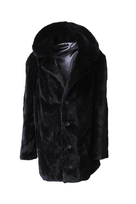 men's sheared beaver trench fur coat with notched collar