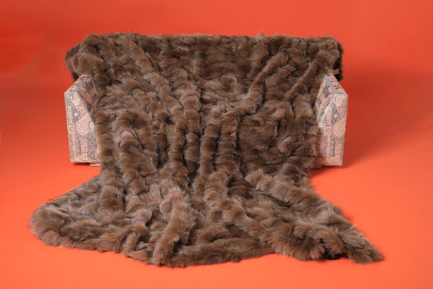 sectional light brown fox fur blanket throw