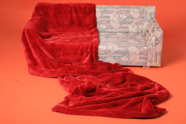 red mink full skin fur blanket throw