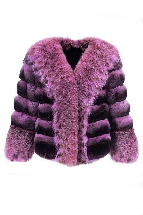 Fuchsia Chinchilla Fur Coat With Lynx Collar & Cuffs