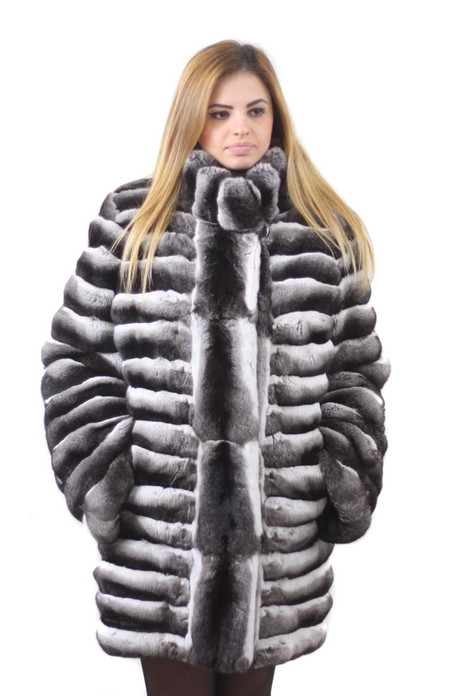 mid hip chinchilla fur coat with stand up collar