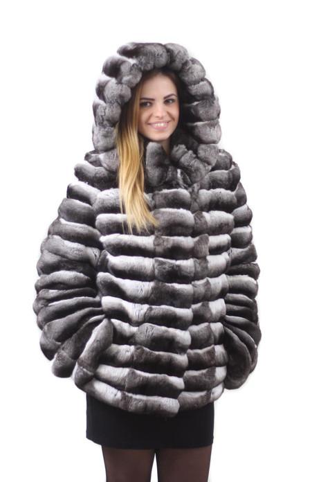hooded chinchilla fur coat mid hip length