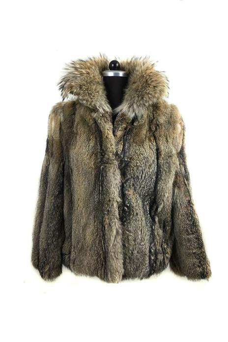 Men's Lynx Fur Coat With Fin Raccoon Collar Halfskins