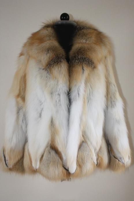 golden island fox fur coat with fox shawl collar
