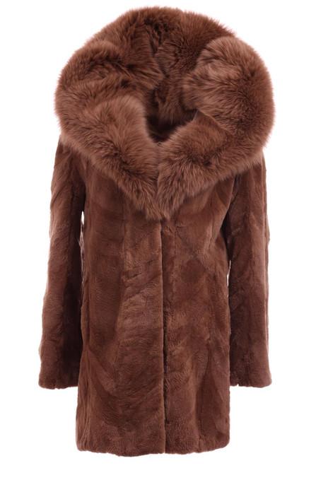 Sheared Brown Beaver Fur Coat With Cobra Hood