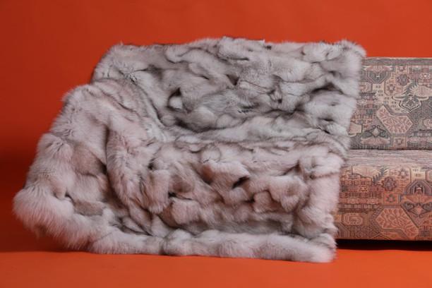 blue fox fur blanket throw bedspread