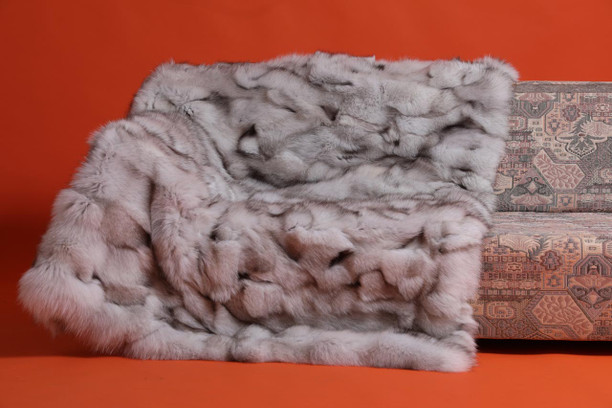 blue fox fur blanket throw bedspread