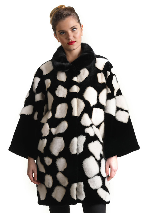 black and white mink fur coat widened sleeves hourglass shape