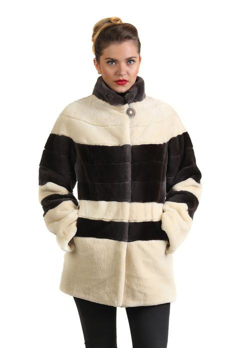 cream gray sheared beaver fur coat stand up collar