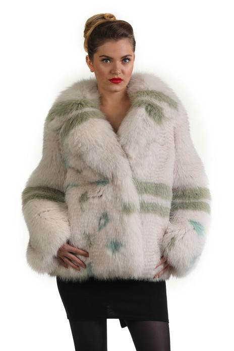 green white fox fur coat with fox fur shawl collar