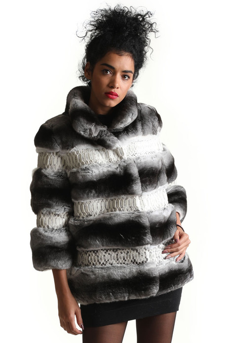 elbow sleeved chinchilla fur coat with python leather stand up collar