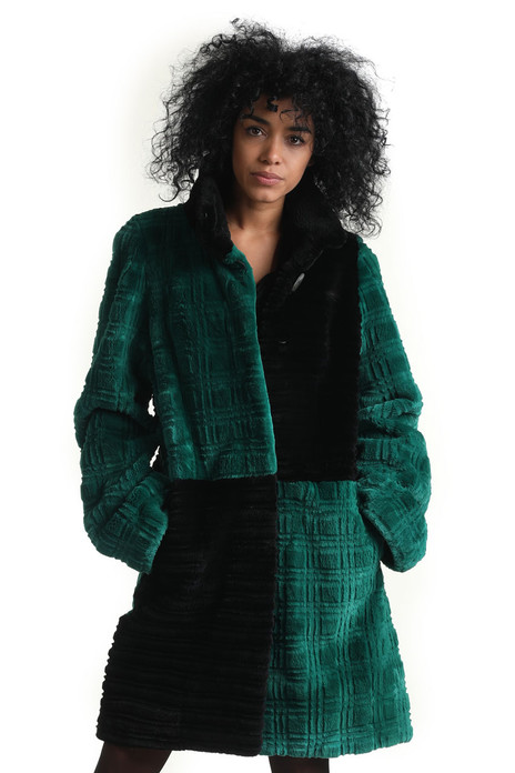 green black sheared and sculpted beaver fur coat with a line shape