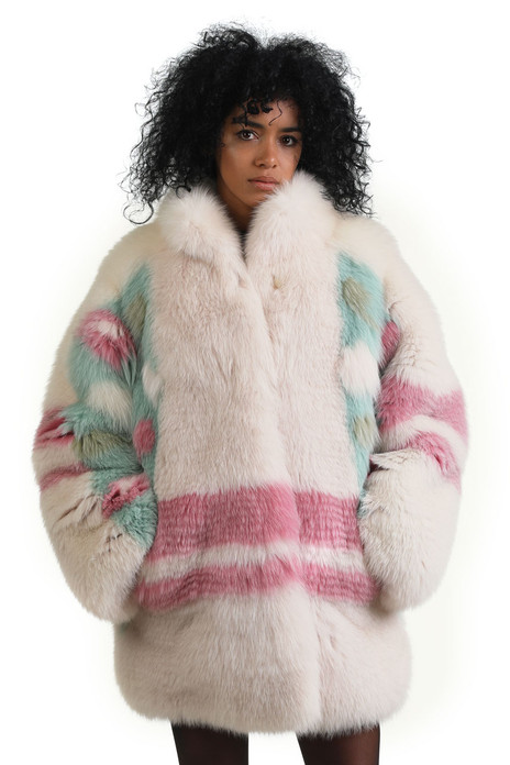 multicolor fully let out fox fur coat