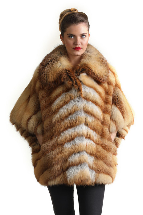 red fox fur jacket with short sleeves diagonal stitching