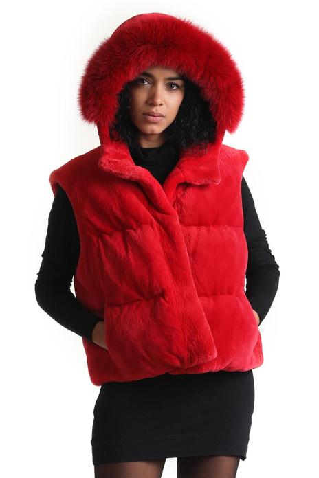 red hooded beaver fur vest with fox trim down insulation