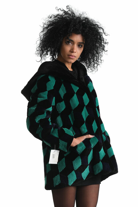 green black chessboard sheared beaver fur jacket hooded