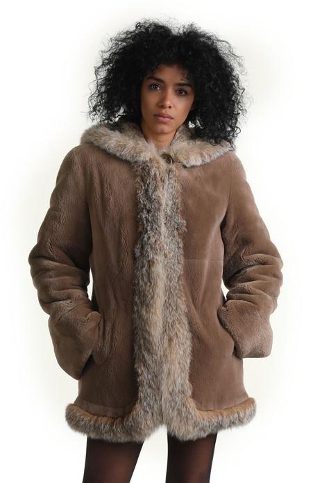 reversible sheared beaver fur coat with hood and lynx trim