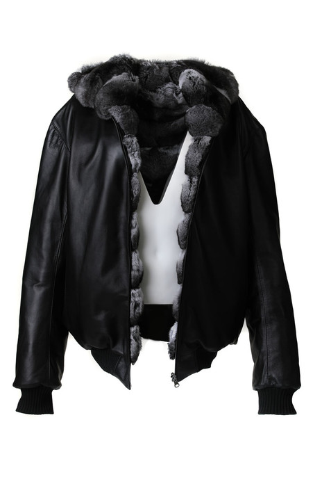 Reversible Hooded Chinchilla  Leather  Bomber Jacket