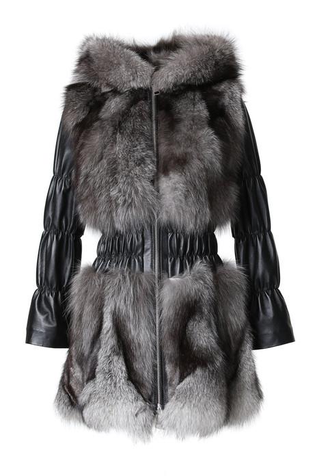 Blue Frost Fox Fur Jacket Hooded Leather Sleeves Waist