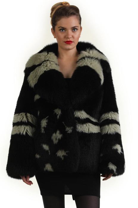 black  and lime fox fur coat with shawl collar