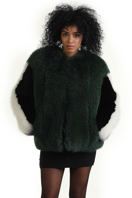 green black white fox fur jacket