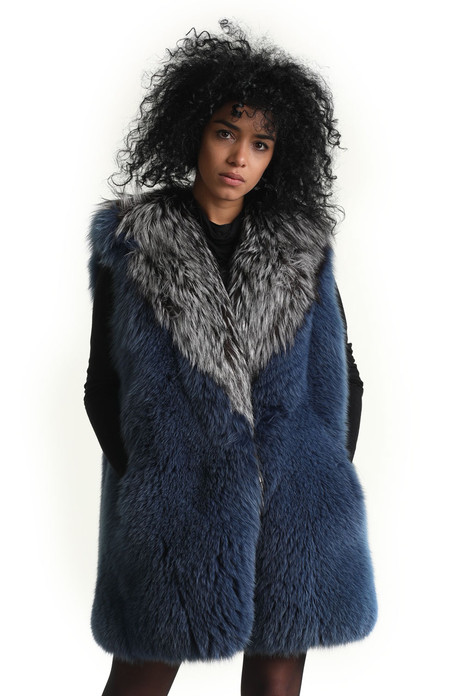 long blue fox fur vest with silver fox collar
