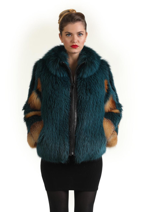 Green Red Fox Fur Coat rounded collar zipper closure with leather interface