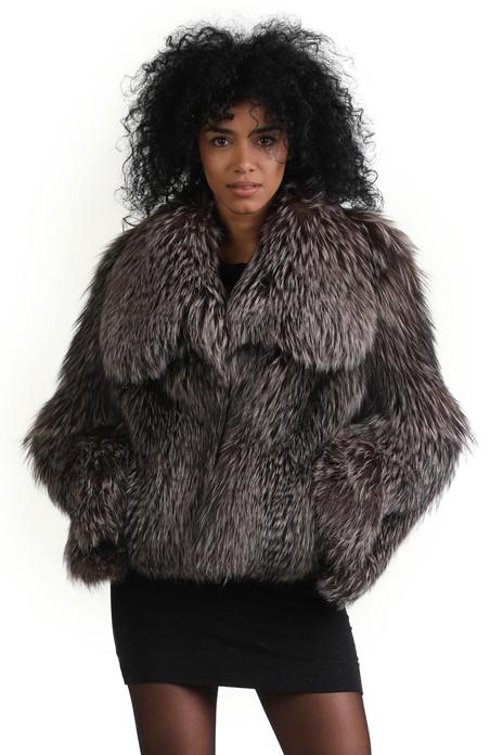short silver fox fur jacket