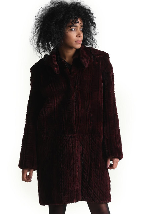 sculpted purple beaver fur coat turning to short jacket with zipper removal of lower part