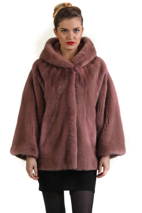 lilac hooded mink fur coat tapered waist