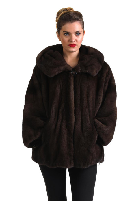 mahogany mink fur coat with hood skin to skin