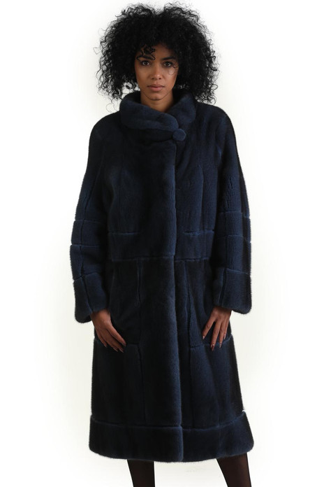 dark blue mink fur coat knee length geometric design stand up collar