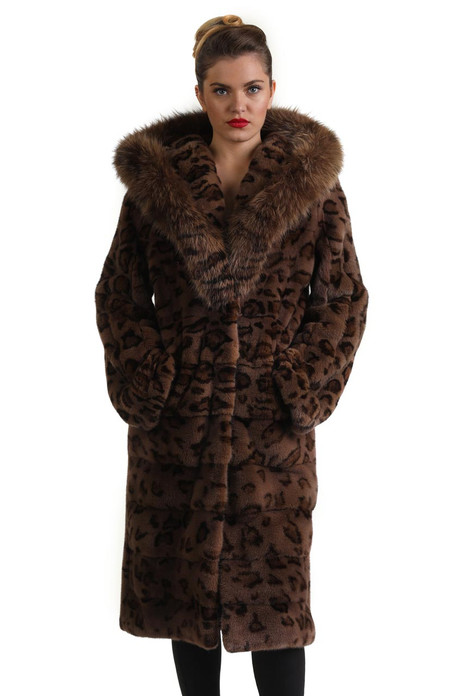 animal print 3/4 length hooded mink fur coat with fox trim on hood ending as shawl collar