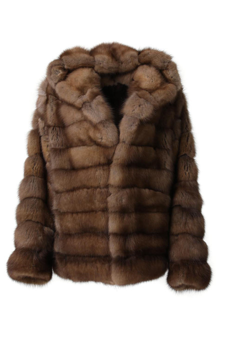 brown hooded sable fur coat for men