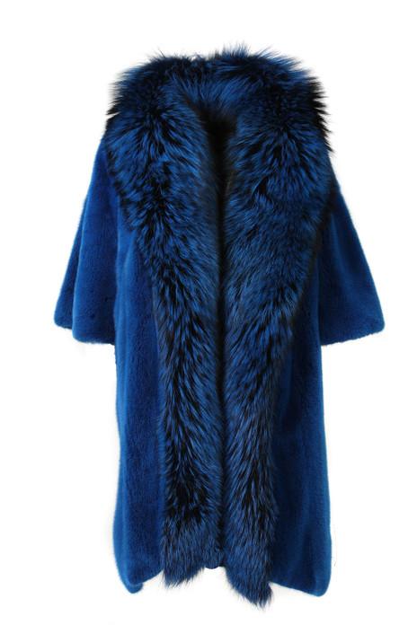 Blue Asymetrical Cut Mink Coat