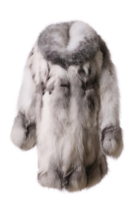 white fox fur coat made of halfskins