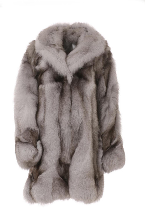 White fox fiur coat blue fox made of halfskins