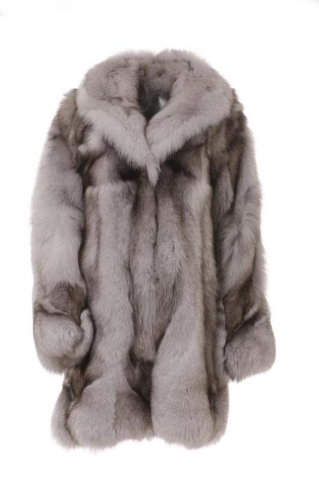 White fox fiur coat blue fox made of halfskins