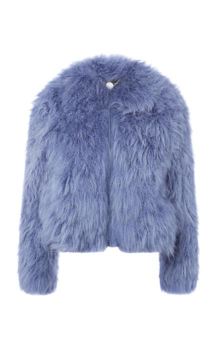 blue mongolian lamb fur jacket
